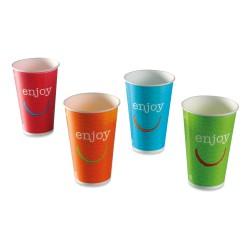 Gobelet enjoy carton recyclable boissons froides 25/30cl par 2000 couleurs panachées
