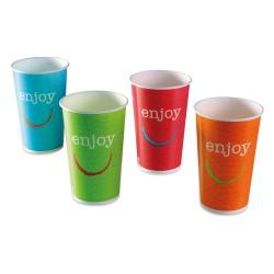 Gobelet enjoy carton recyclable boissons froides 50/60cl par 1000 couleurs panachées