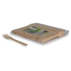 Fourchettes compostables bois 16,5 cm par 1000 pièces