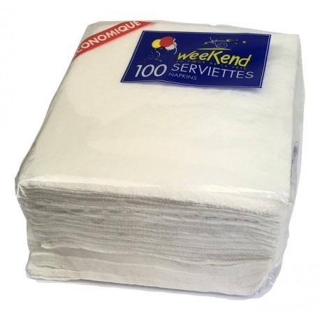 Serviettes 1 pli blanc 30x30cm- par 100