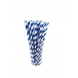 Pailles papier à rayures bleues et blanches décor vintage par 500