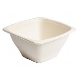 bol carré 1300ml en fibre de canne blanche recyclable et compostable -par 50