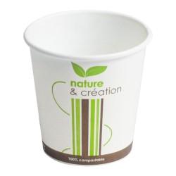 Gobelet 10cl décoré carton + PLA compostable par 50